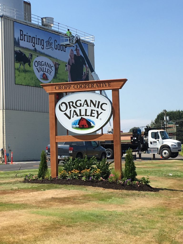 Installing Organic Valley Sign